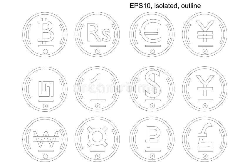Ensemble isom?trique de pi?ce de monnaie de vecteur de devises du monde Ic?nes isom?triques illustration de vecteur