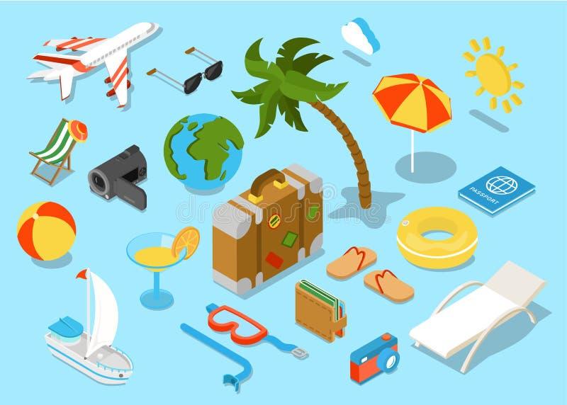 Ensemble isomectric plat d'icône d'objets du voyage 3d illustration libre de droits