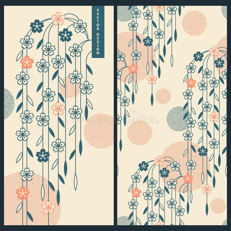 Ensemble japonais avec des cartes de vecteur et modèle sans couture de vecteur avec les ornements et les fleurs japonais traditio illustration libre de droits