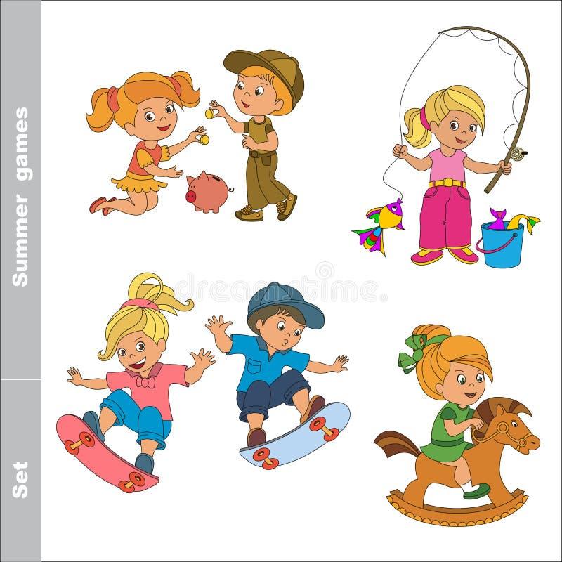 Ensemble - jeux d'été d'enfant illustration de vecteur