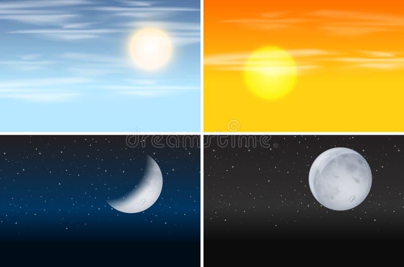 Ensemble jour et nuit de scènes illustration stock
