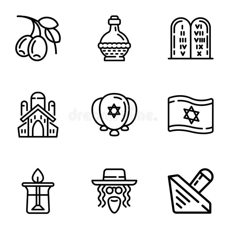 Ensemble juif d'icône d'objets, style d'ensemble illustration stock