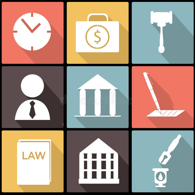 Ensemble juridique, de loi et de justice d'icône dans la conception plate illustration stock