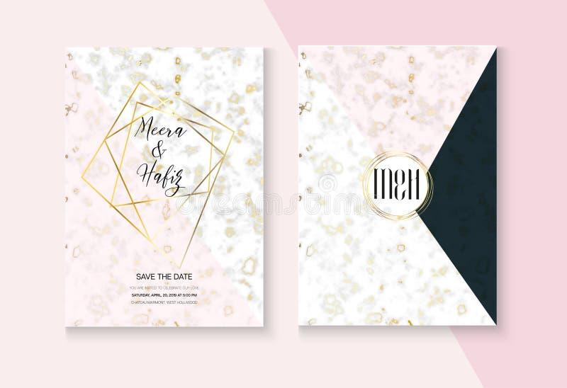 Ensemble l'épousant de marbre graphique de vecteur d'invitation RSVP, merci carte, texture de marbrure, rose, gris, carte blanche illustration stock