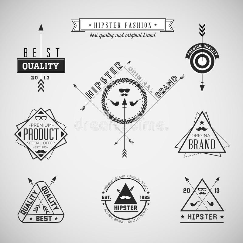 Ensemble labels de cru de hippie de rétros illustration stock