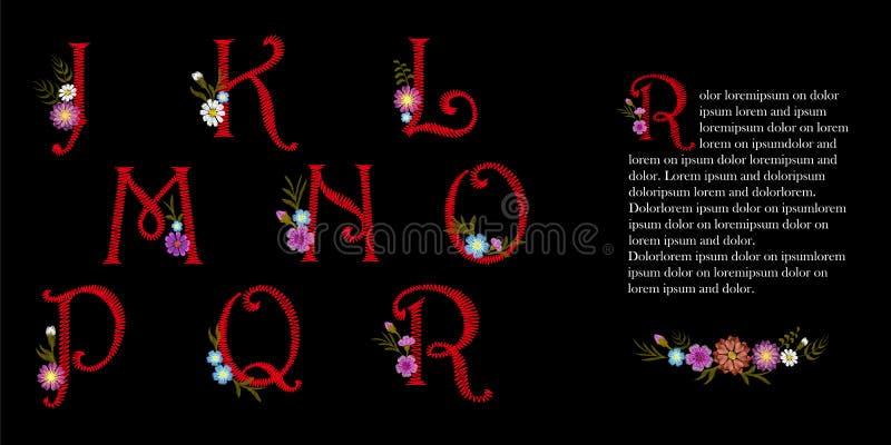 Ensemble latin d'alphabet anglais de vintage de broderie Fleurs décoratives initiales de chapeau de baisse Vecteur rouge fleuri d illustration libre de droits