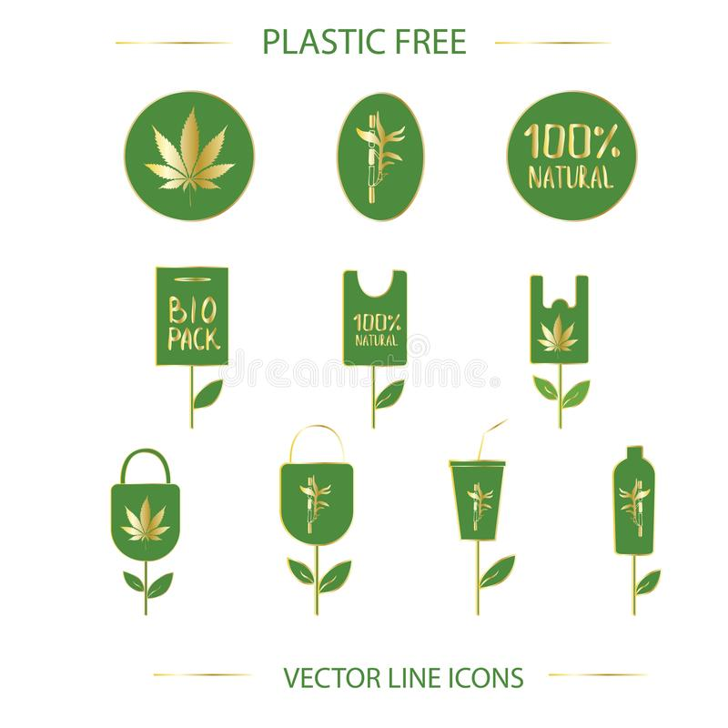 Ensemble libre en plastique d'icône illustration de vecteur