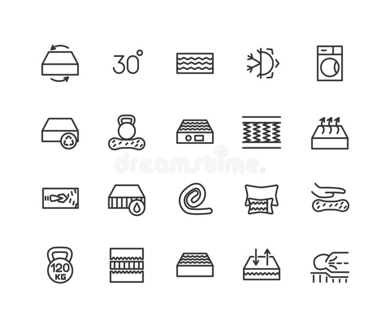 Ensemble linéaire d'icônes de matelas Matelas de mousse de latex, innerspring et de mémoire Illustrations d'isolement d'ensemble  illustration de vecteur