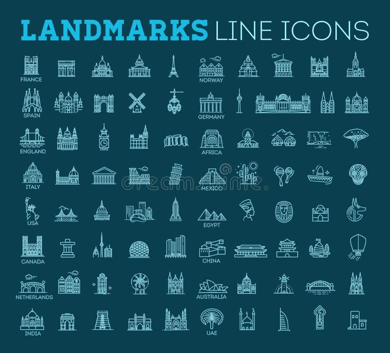 Ensemble linéaire simple d'icône de vecteur représentant les points de repère et les destinations de touristes globaux de voyage  illustration de vecteur