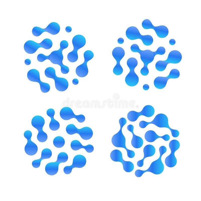 Ensemble liquide abstrait d'icône de vecteur de baisse de h2o Logo épuré d'eau distillée Illustration d'humidité d'air illustration libre de droits