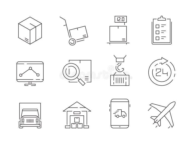 Ensemble logistique d'icône Conteneurs de boîtes de la livraison d'entrepôt et ligne mince symboles de vecteur de navire-grue de  illustration libre de droits