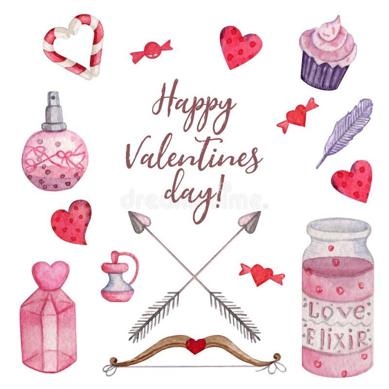 Ensemble lumineux d'aquarelle pour la Saint-Valentin illustration libre de droits