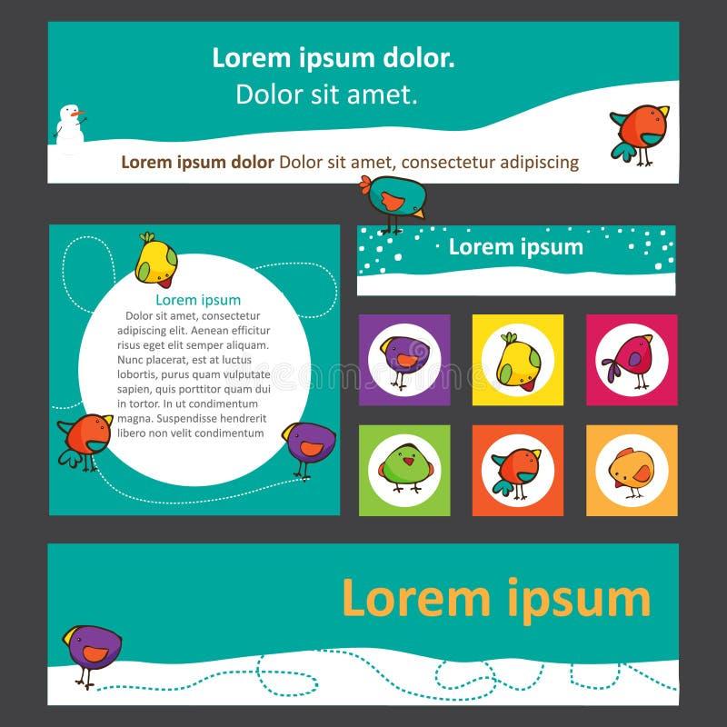 Ensemble lumineux de bannières pour le web design avec les oiseaux mignons illustration de vecteur