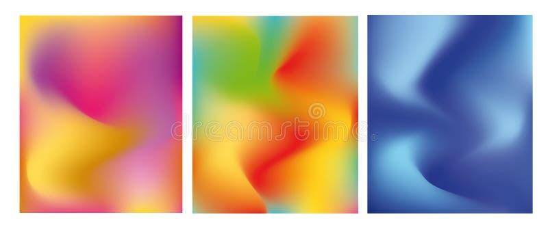 Ensemble lumineux de cartes avec le gradient à la mode de couleur Fond ? la mode abstrait, texture color?e Conception cr?ative, m illustration libre de droits