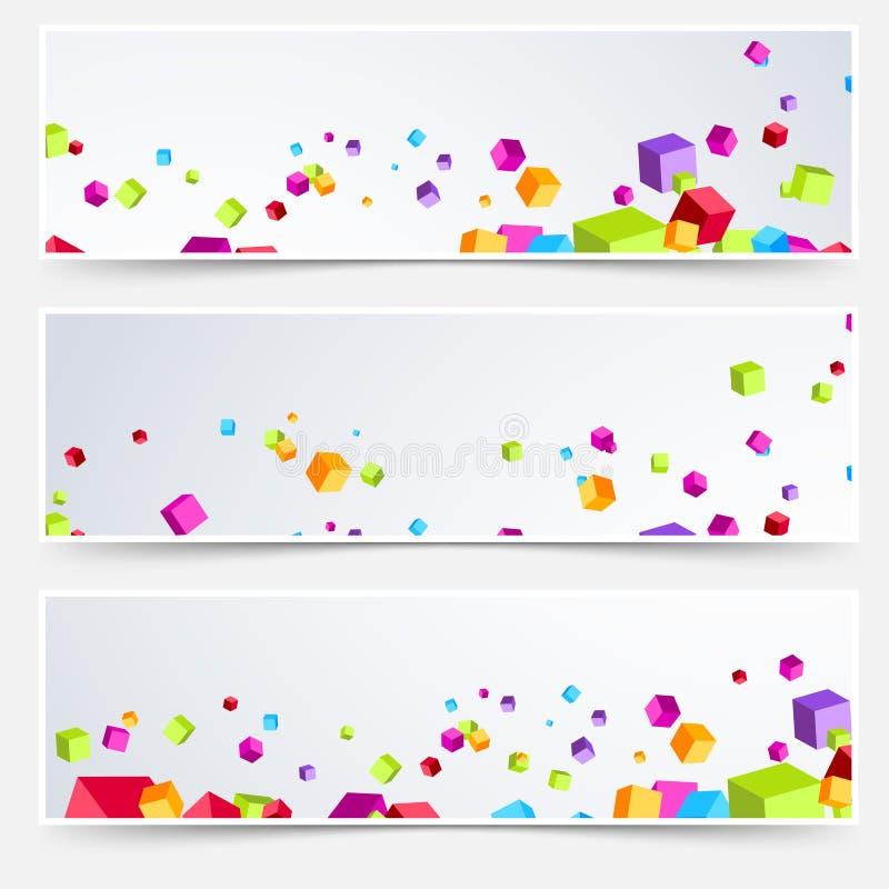 Ensemble lumineux de titre de bas de page d'en-tête de Web de cube illustration stock