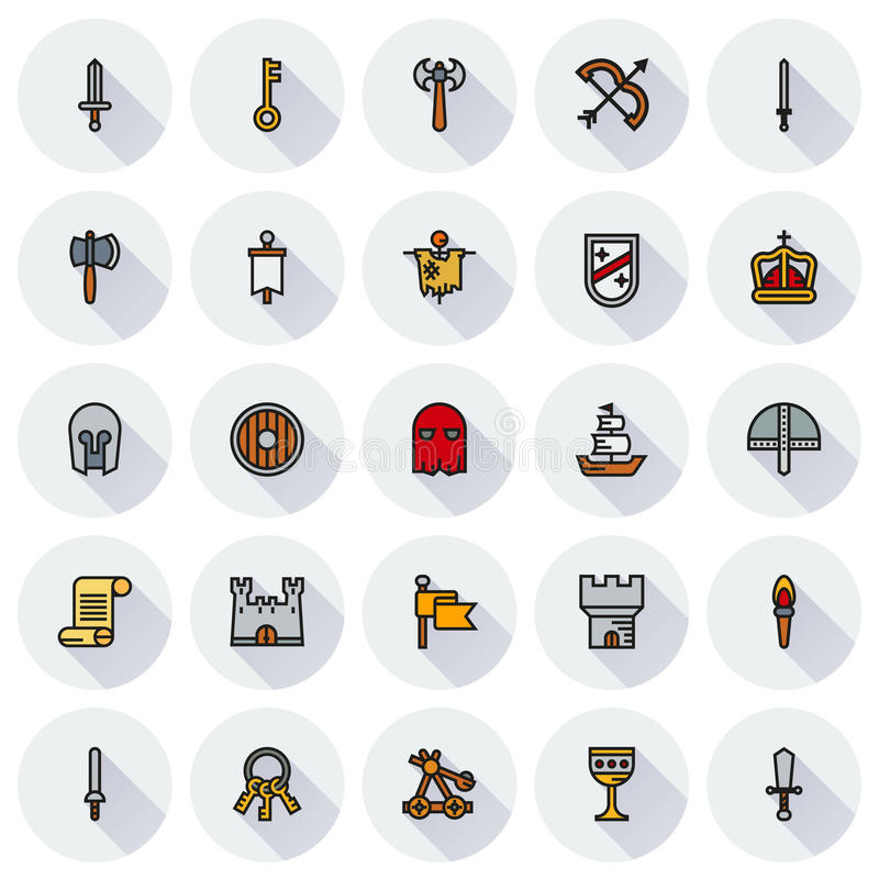 Ensemble MÉDIÉVAL d'icône d'icônes simples de couleur illustration de vecteur