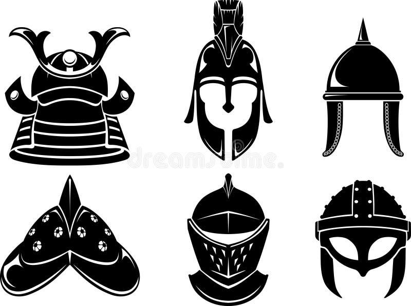 Ensemble médiéval de casque de guerrier illustration de vecteur