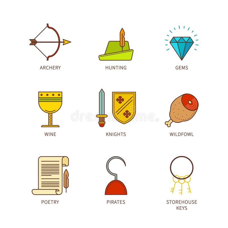 Ensemble médiéval plat d'icônes de lineart minimal de vecteur illustration stock