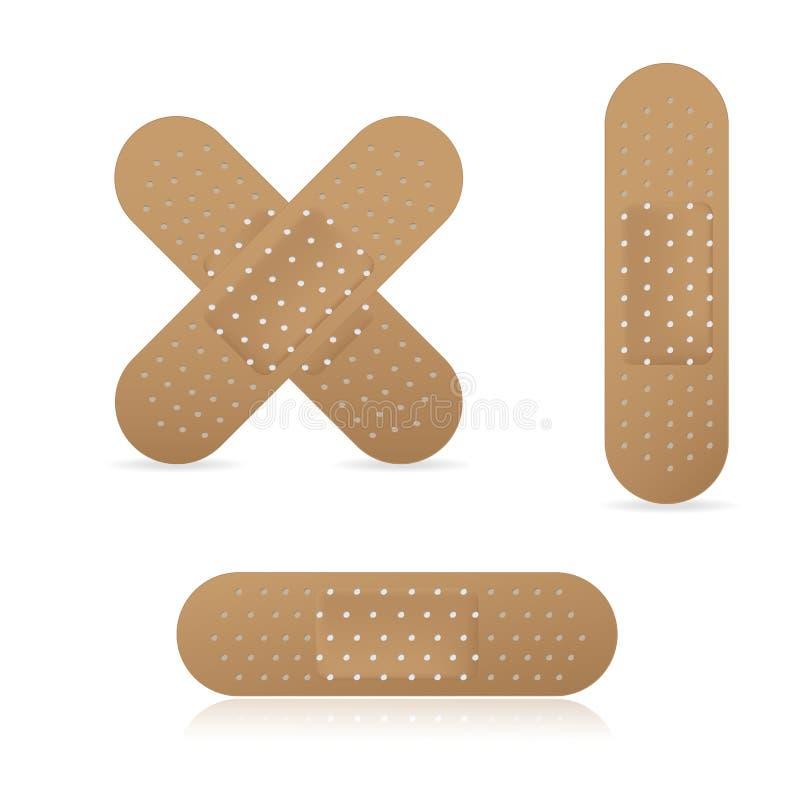 Ensemble médical élastique de collection de plâtres de bandage adhésif, illustration de vecteur illustration de vecteur
