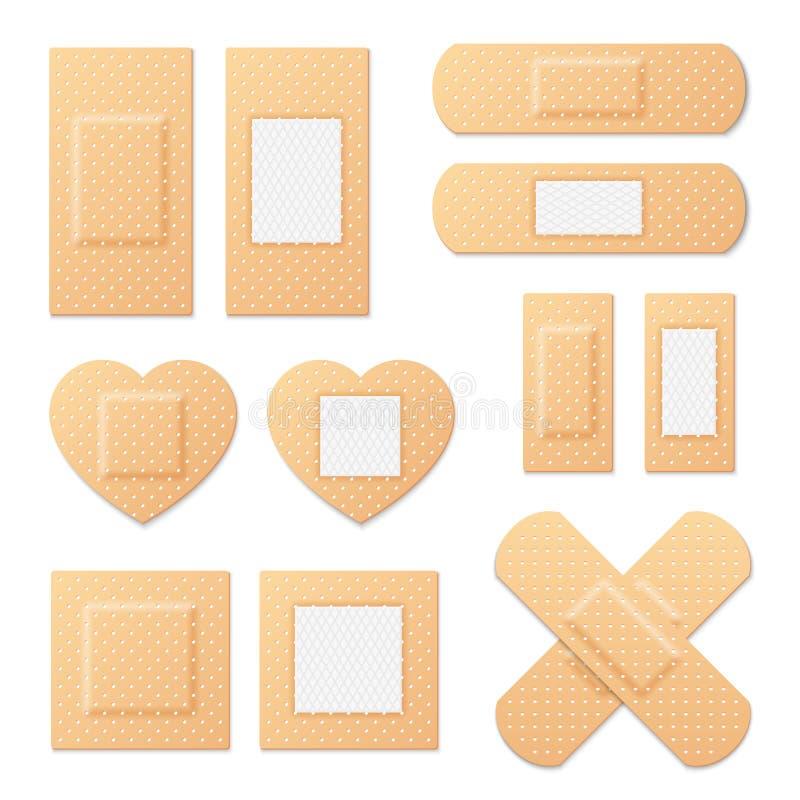Ensemble médical élastique de vecteur de plâtres de bandage adhésif illustration de vecteur