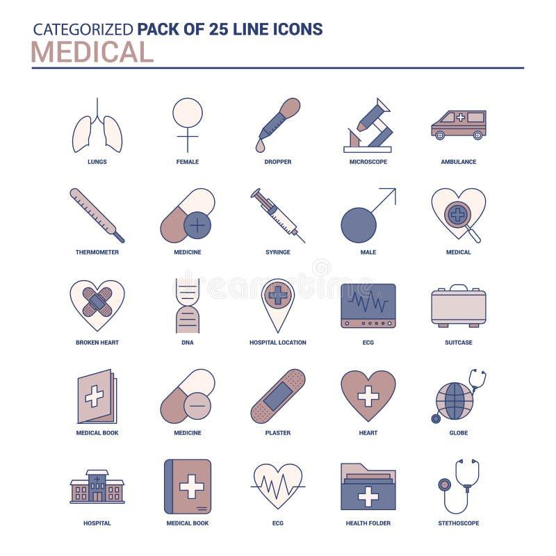 Ensemble médical d'icône de cru - 25 ligne plate ensemble d'icône illustration de vecteur