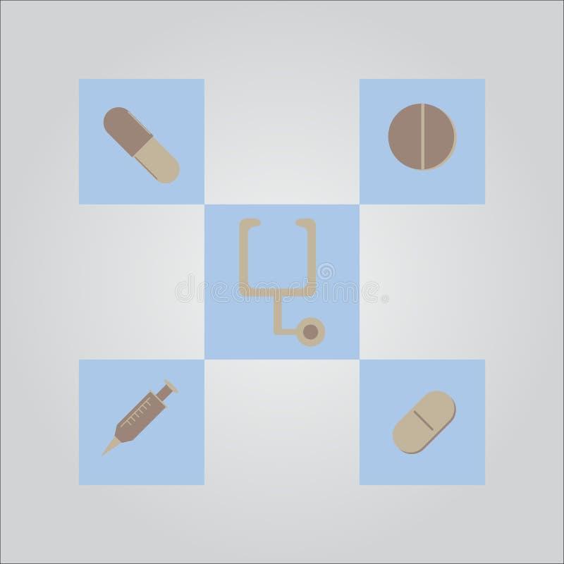 Ensemble médical d'icône de vecteur illustration de vecteur