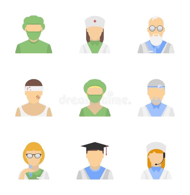 Ensemble médical d'icône des employés illustration de vecteur