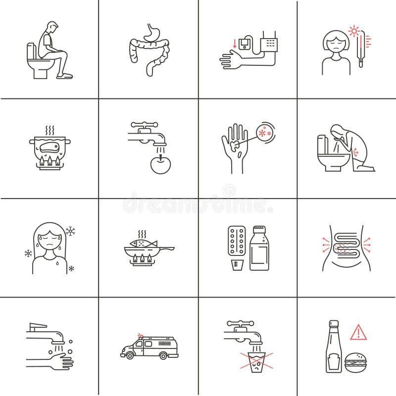 Ensemble médical de diarrhée d'icônes illustration stock