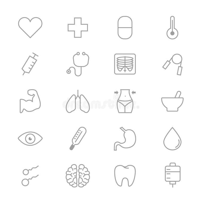 Ensemble médical et de soins de santé de forme physique de ligne saine d'icônes illustration stock