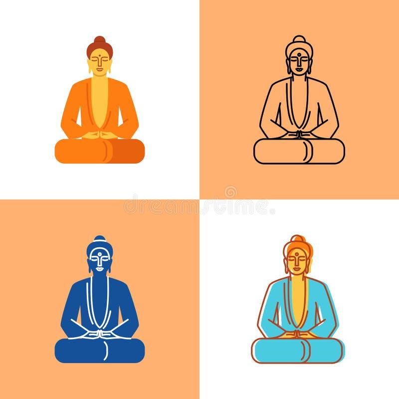 Ensemble méditant d'icône de Bouddha dans l'appartement et la ligne styles illustration stock