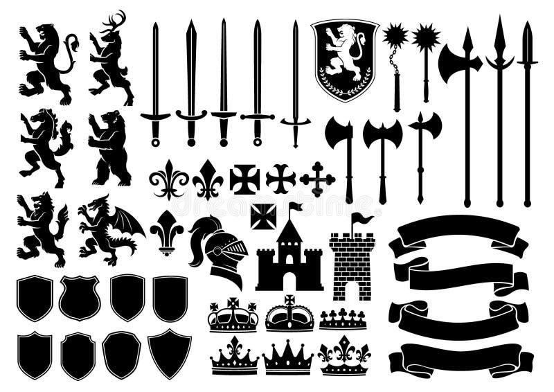 Ensemble méga de silhouette héraldique illustration de vecteur