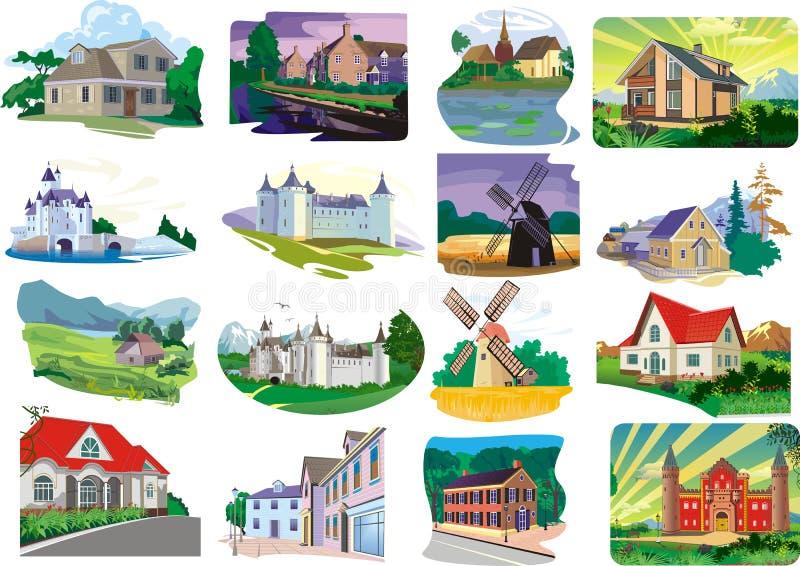 Ensemble - maisons, cottages dans le vecteur illustration libre de droits
