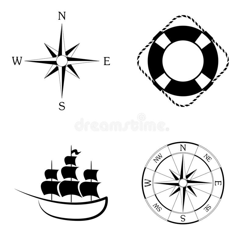 Ensemble marin de vecteur d'icônes image libre de droits