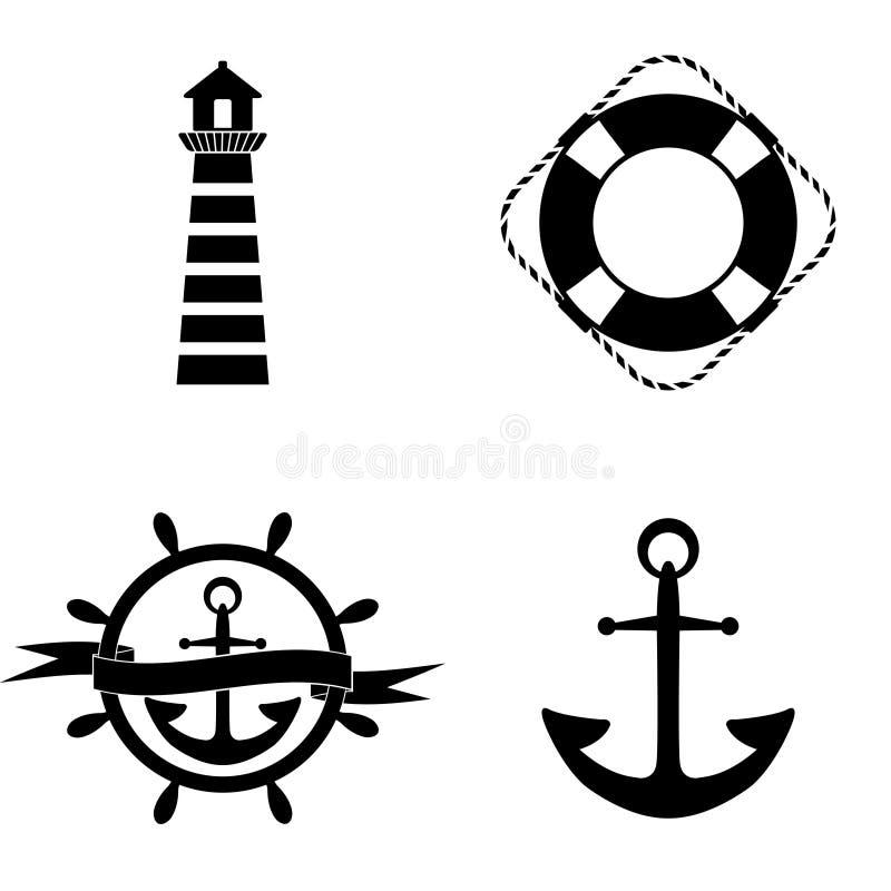 Ensemble marin de vecteur d'icônes image stock