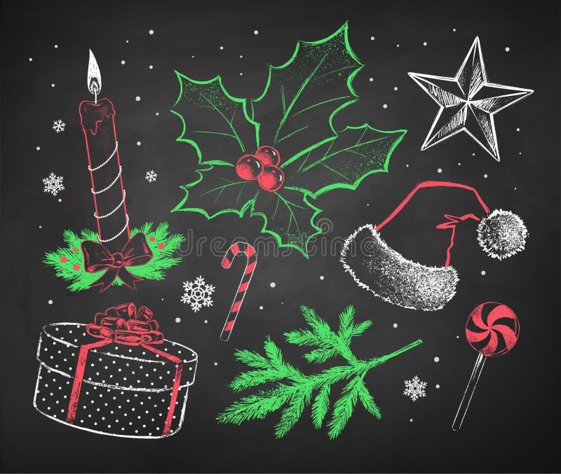 Ensemble marqué à la craie de Noël illustration stock
