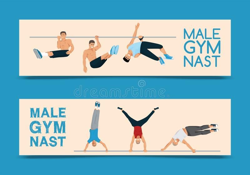 Ensemble masculin de gymnaste d'illustration de vecteur de banni?res Gymnastique concurrentiel Barre horizontale Barres parall?le illustration de vecteur