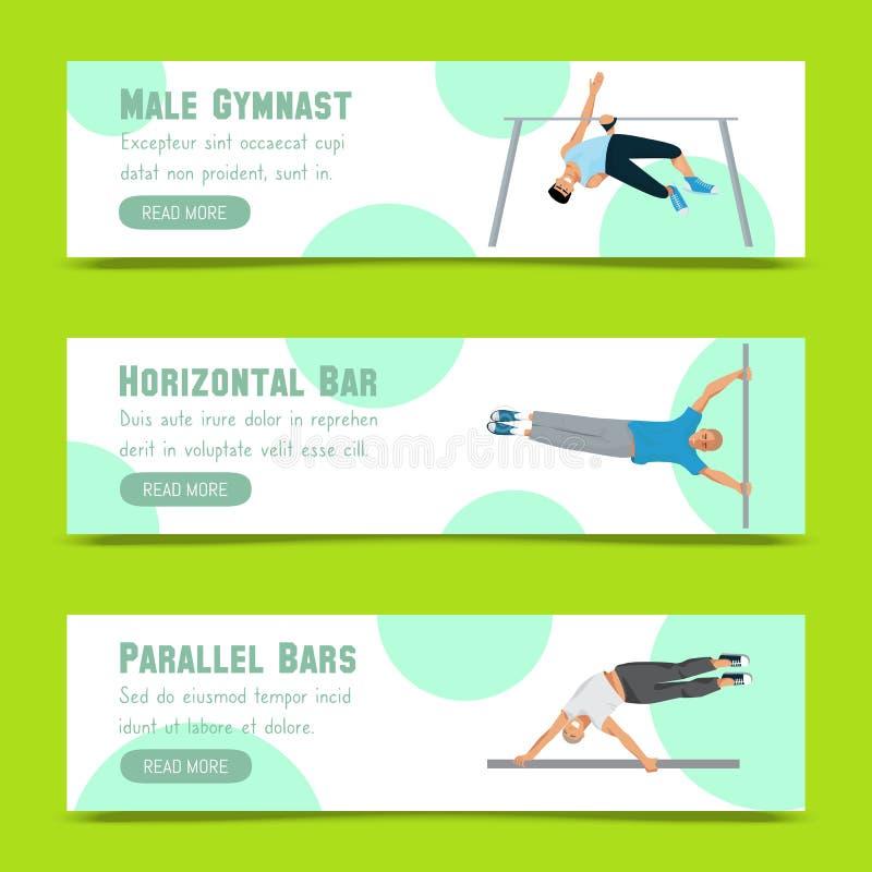 Ensemble masculin de gymnaste d'illustration de vecteur de banni?res Gymnastique concurrentiel Barre horizontale Barres parall?le illustration stock