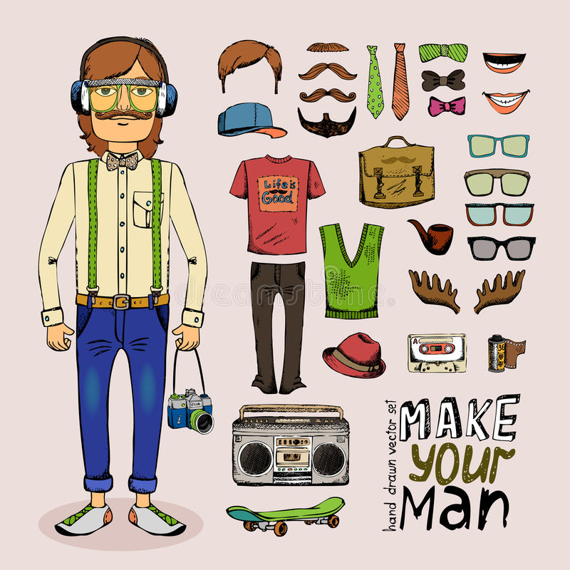 Ensemble masculin de hippie de croquis illustration libre de droits