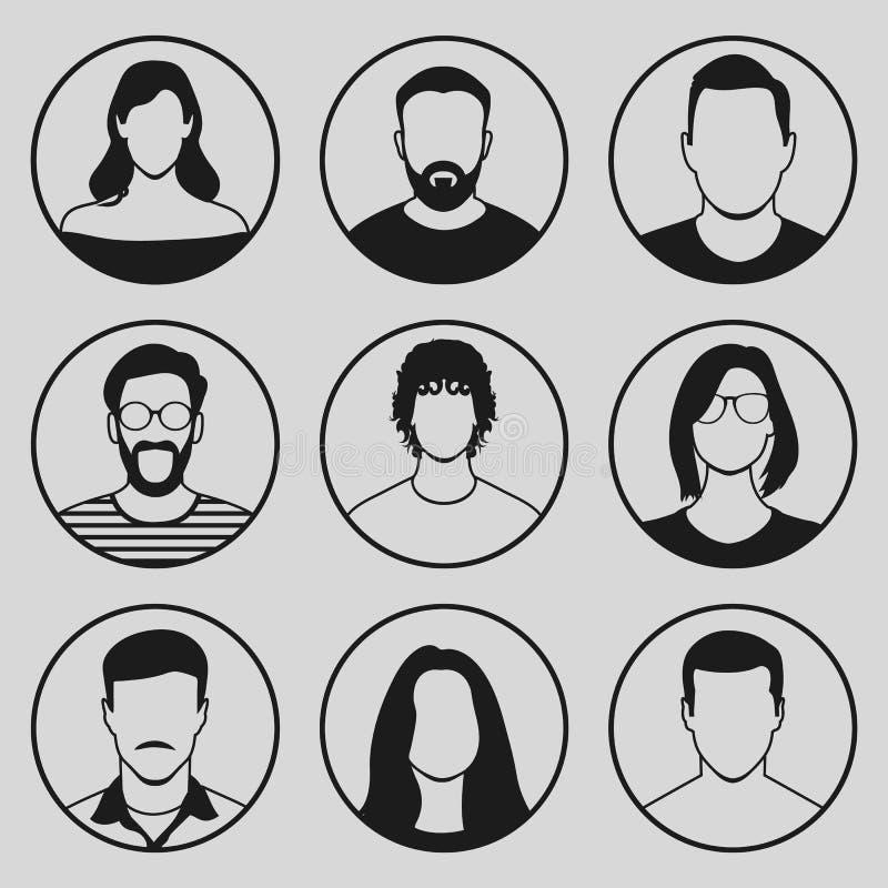 Ensemble masculin et de femelle de visages d'icône illustration stock