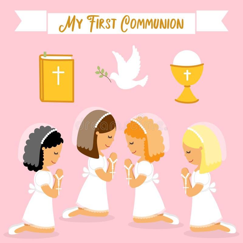 Ensemble mignon d'éléments de conception pour la première communion pour des filles illustration stock