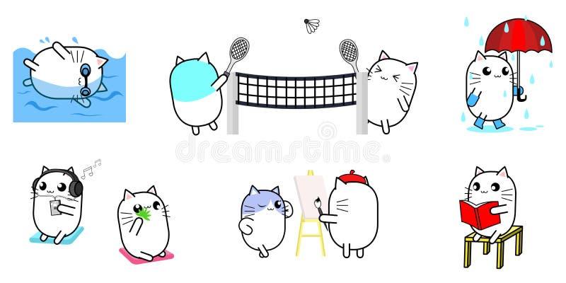 Ensemble mignon d'activité de conception de personnage de dessin animé de chat illustration de vecteur