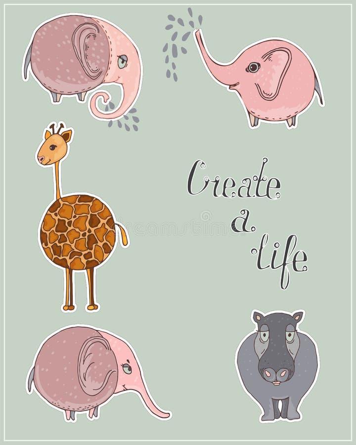 Ensemble mignon d'autocollants d'animaux de bande dessinée éléphant, hippopotame, et autocollants mignons d'éléphant avec le text illustration stock