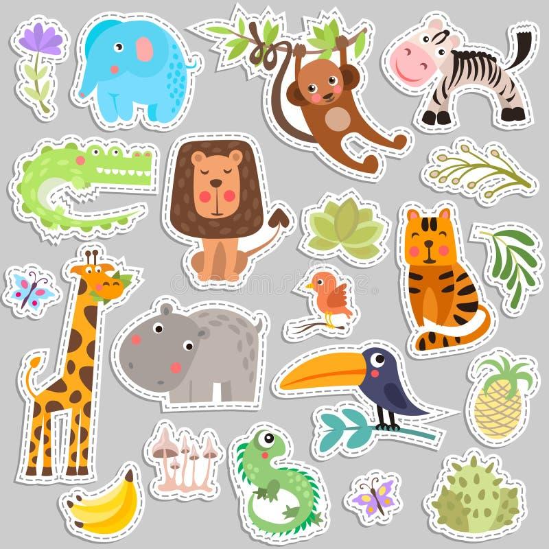 Ensemble mignon d'autocollants des animaux et des fleurs de safari La savane et animaux drôles d'autocollant de bande dessinée de illustration de vecteur