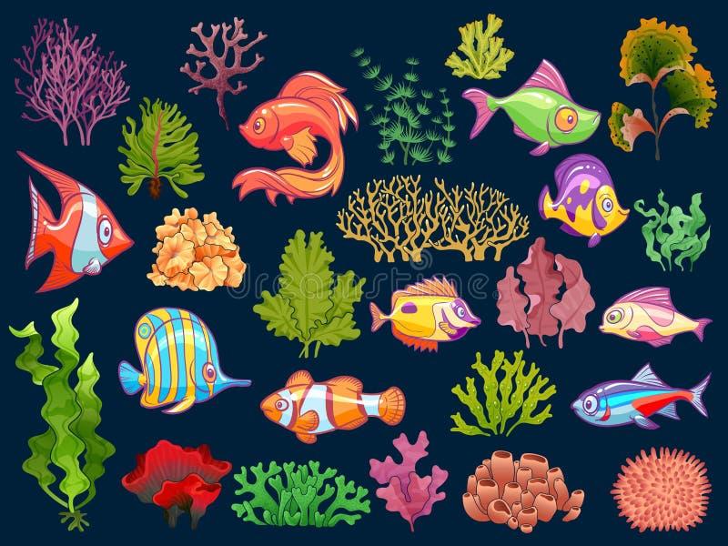 Ensemble mignon d'eau du fond d'enfant Poissons et algue de bébé d'aquarium dans l'eau pour la collection d'isolement par enfants illustration stock