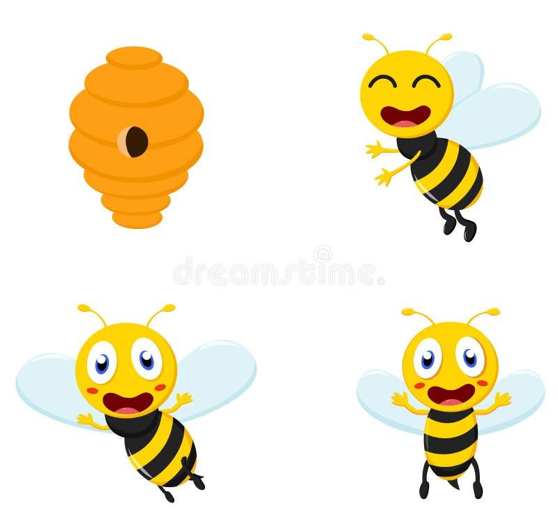 Ensemble mignon de collection de bande dessinée d'abeille de miel illustration stock