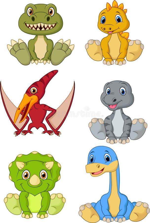 Ensemble mignon de collection de bande dessinée de dinosaures de bébé illustration stock