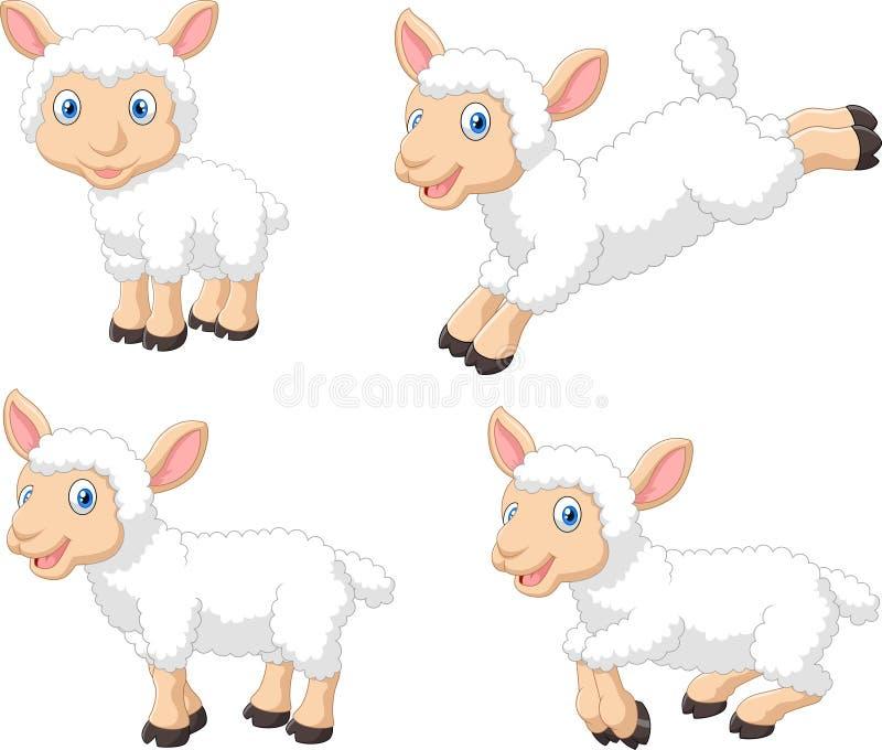 Ensemble mignon de collection de moutons de bande dessinée, d'isolement sur le fond blanc illustration libre de droits