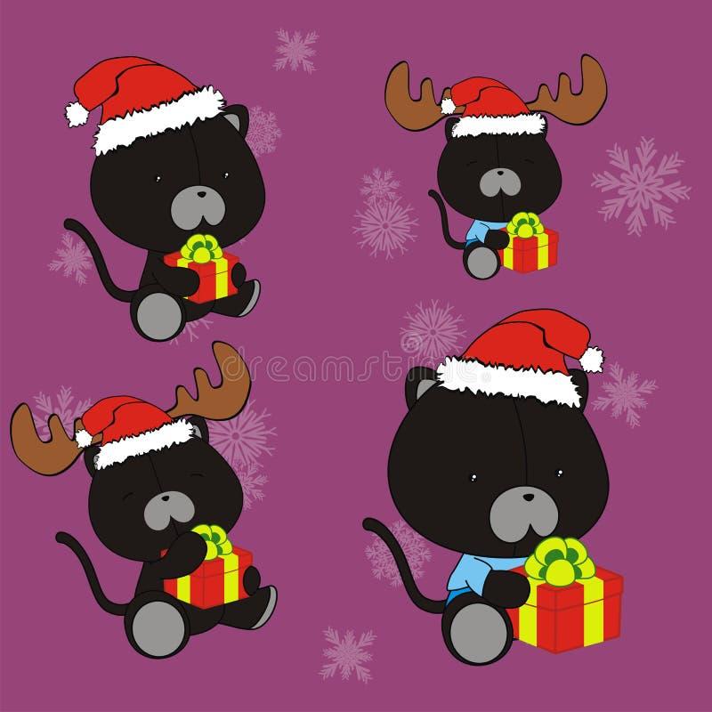Ensemble mignon de costume de Noël Claus de bande dessinée de chat noir illustration stock