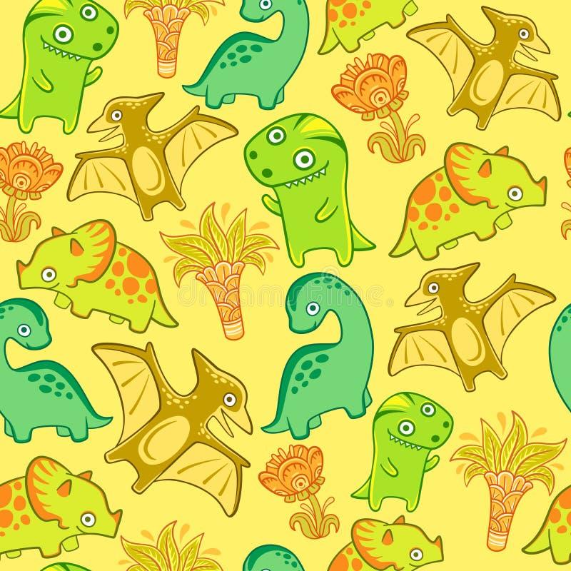 Ensemble mignon de Dino, modèle sans couture de vecteur Dinosaures drôles pour la crèche Diplodocus de triceratops de ptérodactyl image libre de droits