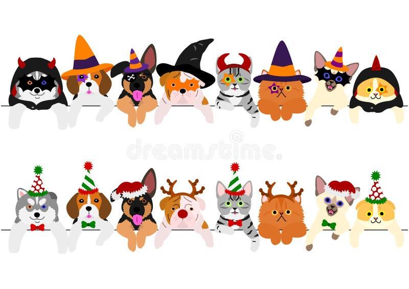 Ensemble mignon de frontière de chiots et de minous, avec des costumes de Halloween et avec des costumes de Noël illustration libre de droits